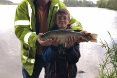 Junior angler Lee with a fine soulseat rainbow